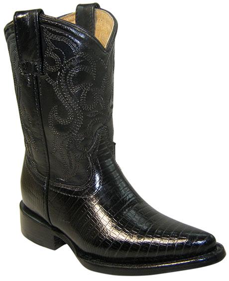 Vaquera H3600 F-712  CHINELA:Lizard Negro CALZADOR: Lizard Negro TUBO: Vestimenta Negro FORRO: Carnaza Cerdo SUELA: Cuero TACÓN: Recto ACABADO: Negro